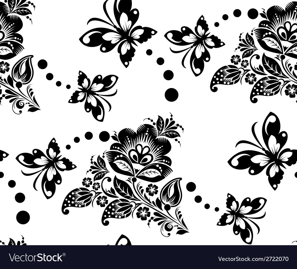 Seamless floral pattern with flower and vector | Price: 1 Credit (USD $1)