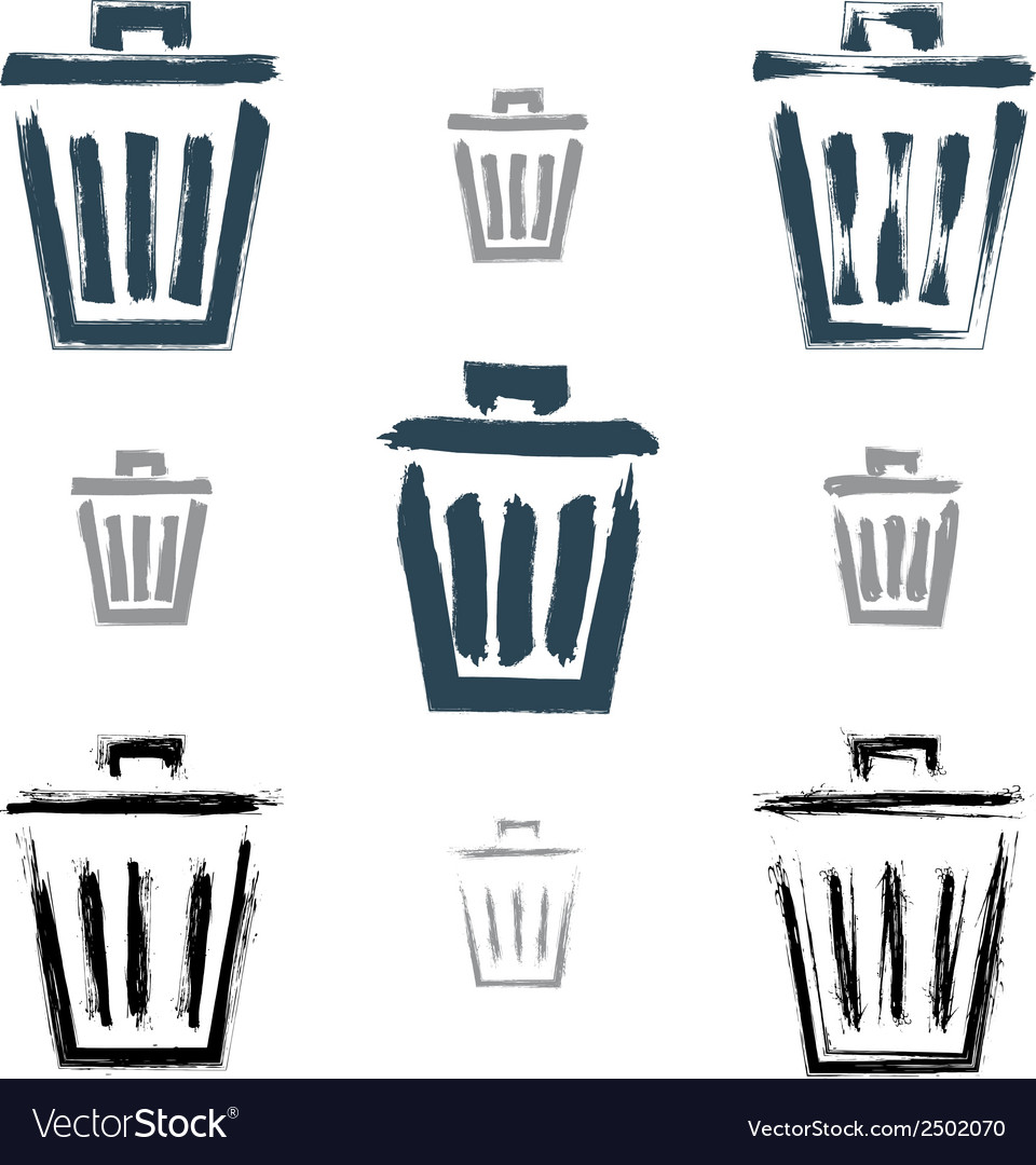 Set of hand-painted simple trash can icons vector | Price: 1 Credit (USD $1)
