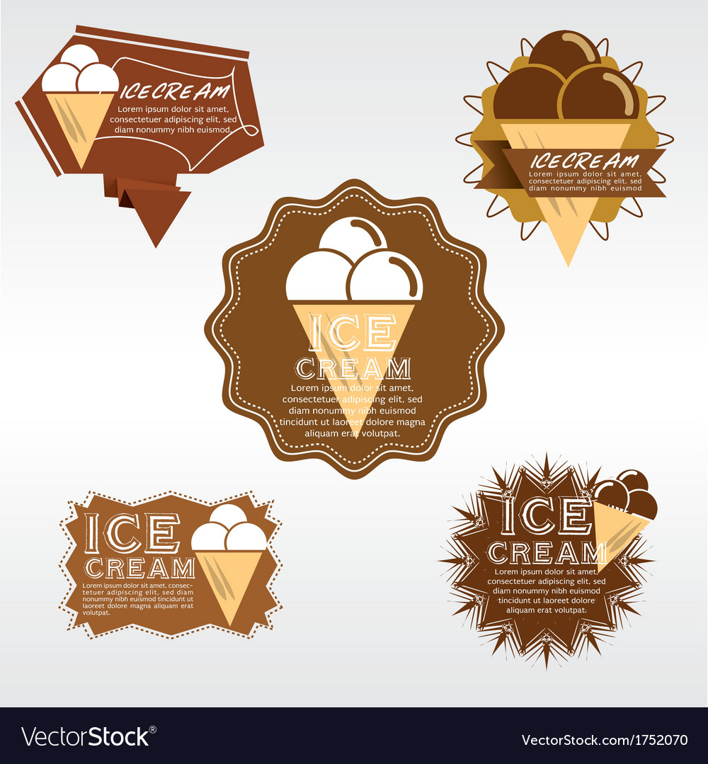 Set of ice cream badge eps10 vector | Price: 1 Credit (USD $1)