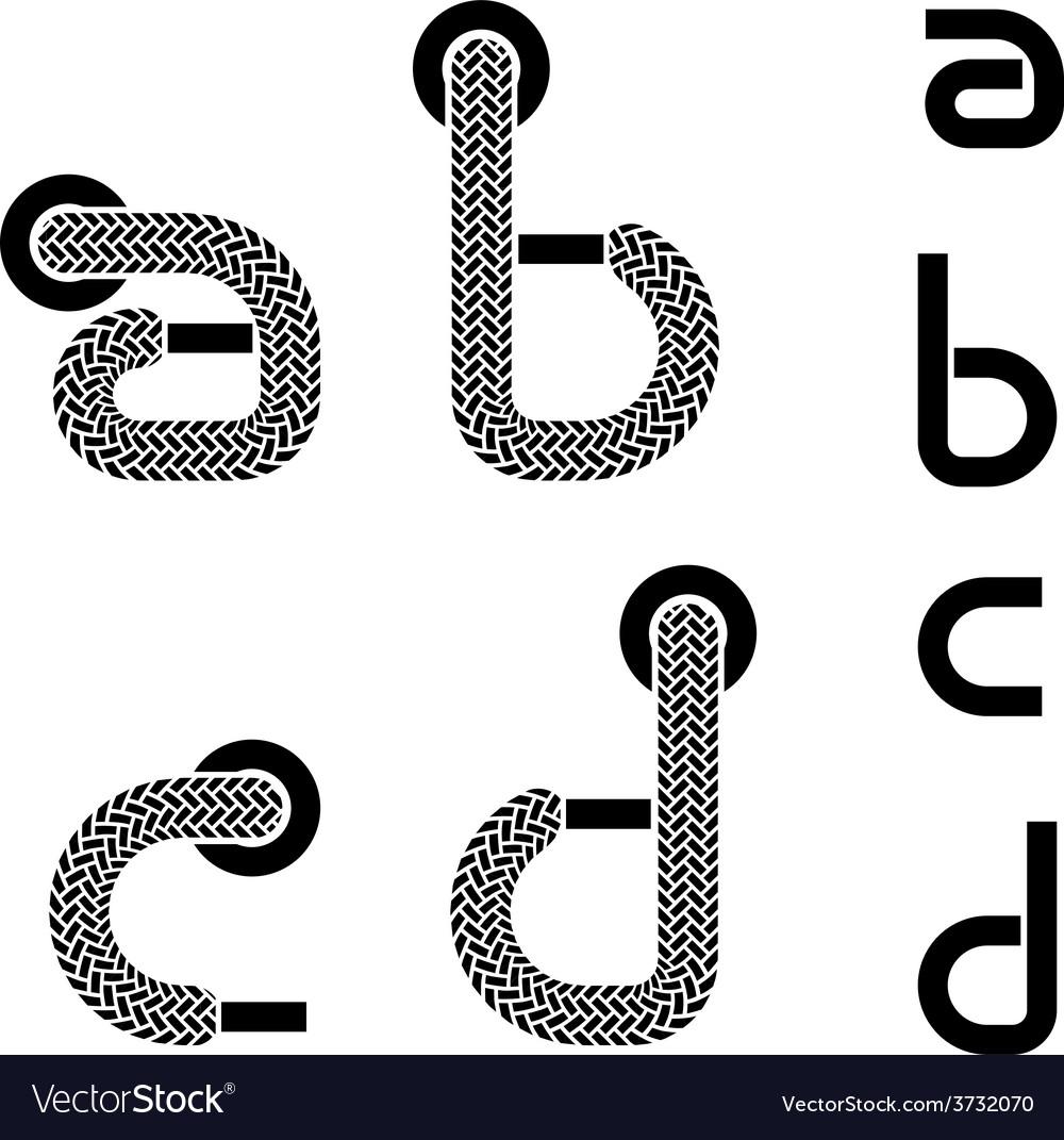 Shoelace alphabet lower case letters a b c d vector   Price: 1 Credit (USD $1)