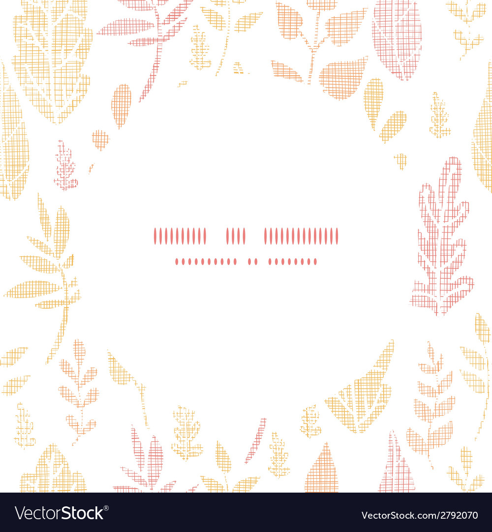 Textile textured fall leaves circle frame seamless vector | Price: 1 Credit (USD $1)