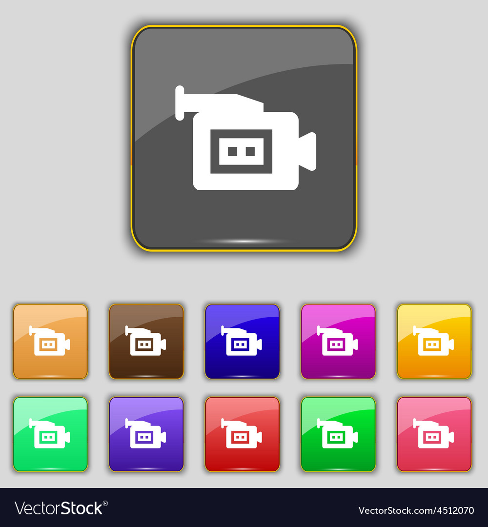 Video camera icon sign set with eleven colored vector | Price: 1 Credit (USD $1)