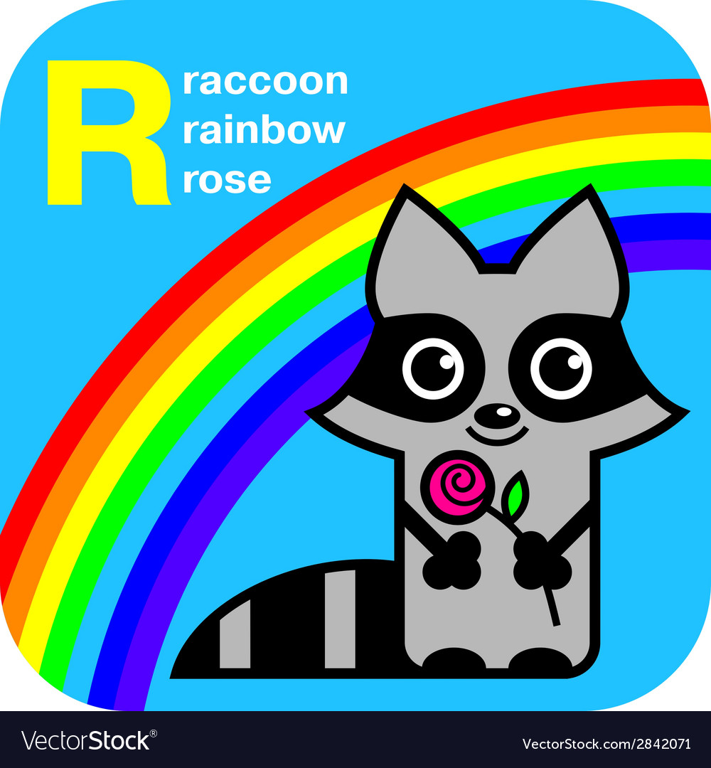 Abc raccoon rainbow rose vector | Price: 1 Credit (USD $1)