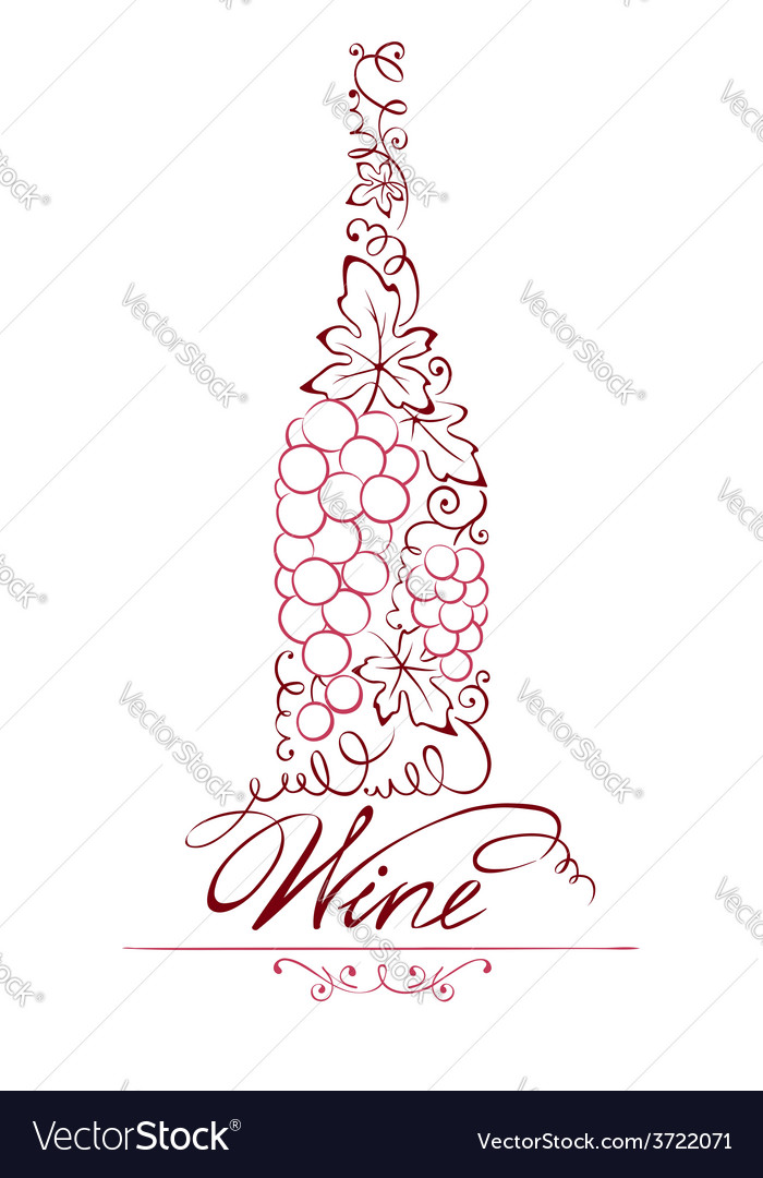 Abstract floral red wine bottle vector | Price: 1 Credit (USD $1)