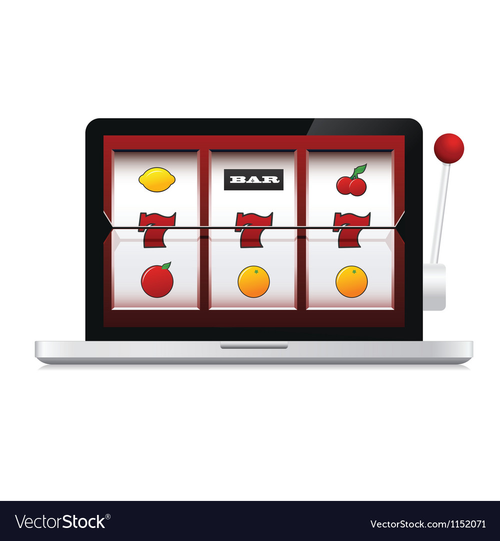Abstract image of laptop casino slot machine vector | Price: 1 Credit (USD $1)