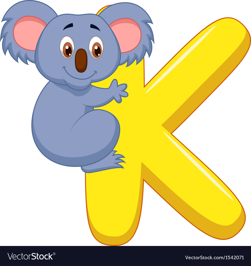 Alphabet k with koala cartoon vector | Price: 1 Credit (USD $1)