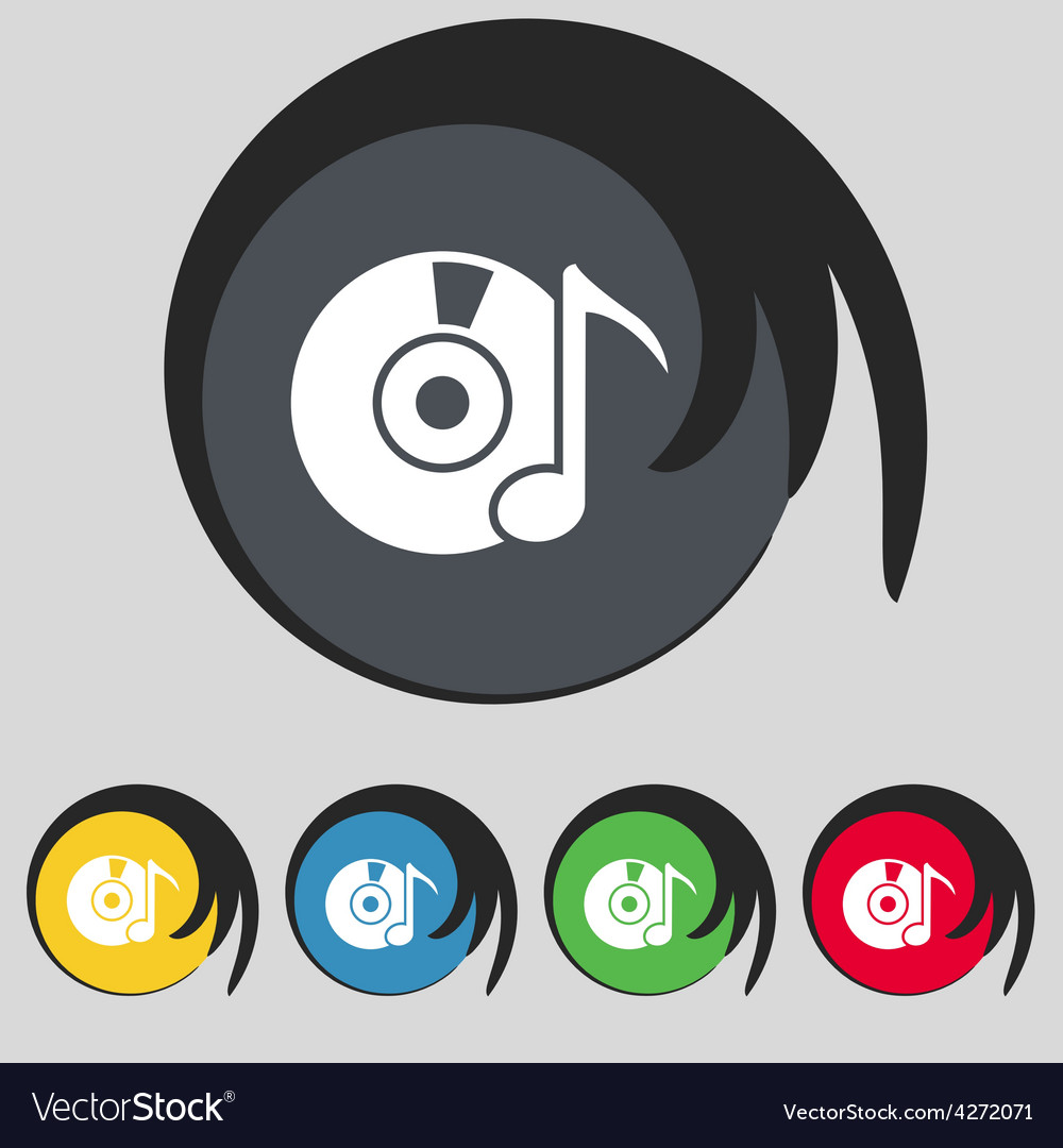 Cd or dvd icon sign symbol on five colored buttons vector | Price: 1 Credit (USD $1)
