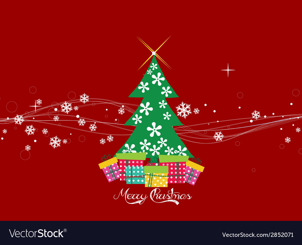 Christmas card with christmas tree vector   Price: 1 Credit (USD $1)