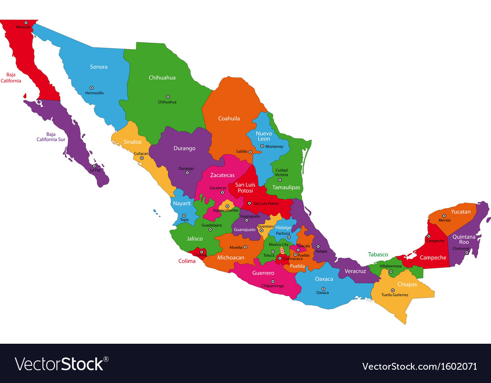 Colorful mexico map vector | Price: 1 Credit (USD $1)