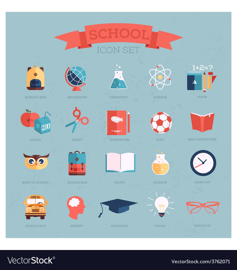 Icon set for school vector | Price: 1 Credit (USD $1)