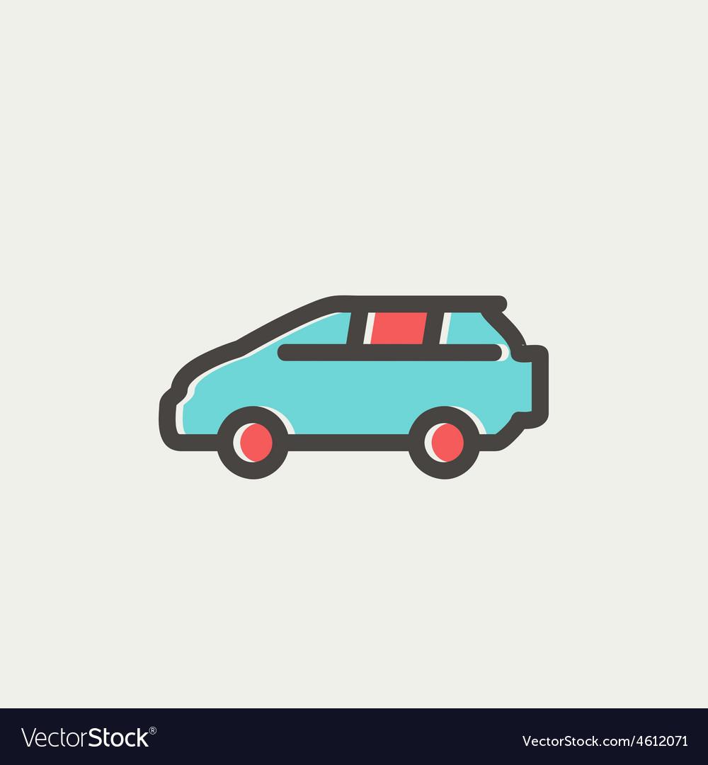 Minivan thin line icon vector   Price: 1 Credit (USD $1)