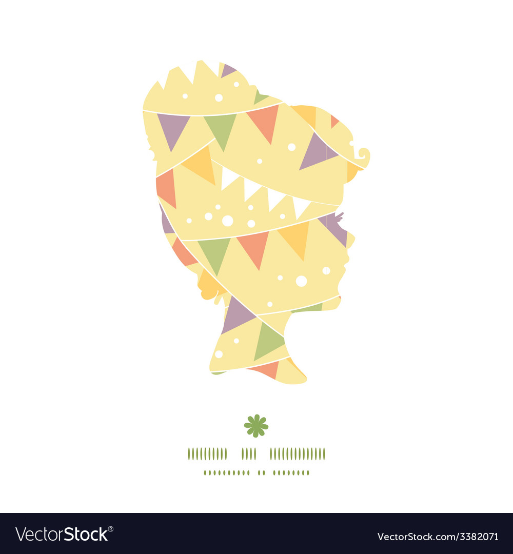 Party decorations bunting girl portrait silhouette vector | Price: 1 Credit (USD $1)