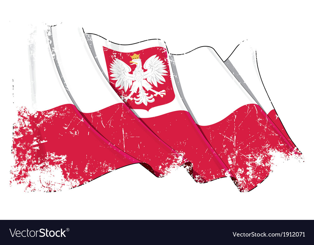 Poland state flag grunge vector | Price: 1 Credit (USD $1)