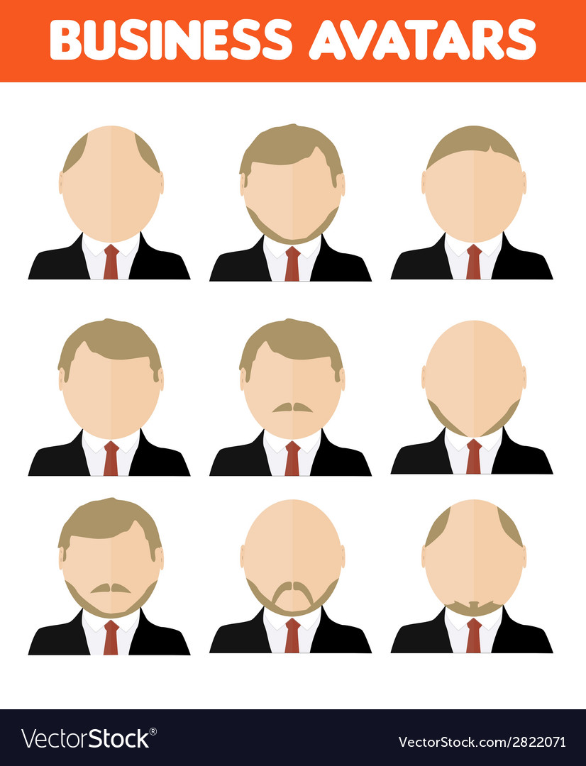 Set of business avatar of businessman vector | Price: 1 Credit (USD $1)