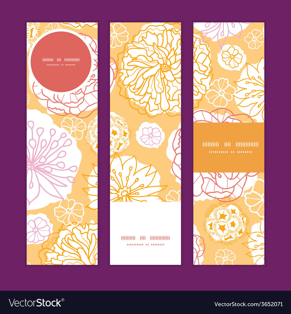 Warm day flowers vertical banners set pattern vector | Price: 1 Credit (USD $1)