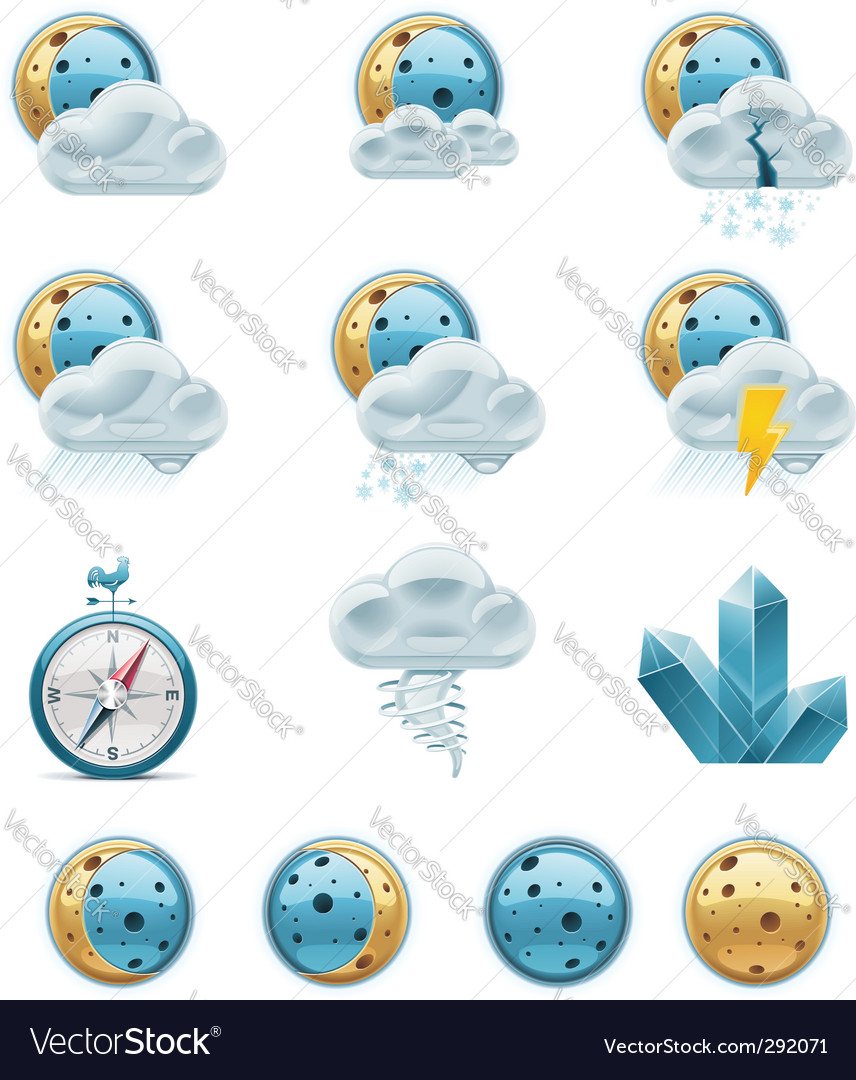 Weather forecast icons night vector | Price: 3 Credit (USD $3)
