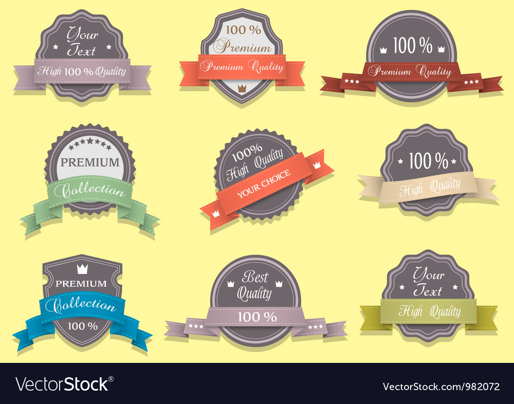 9 premium quality labels in retro colors vector | Price: 1 Credit (USD $1)