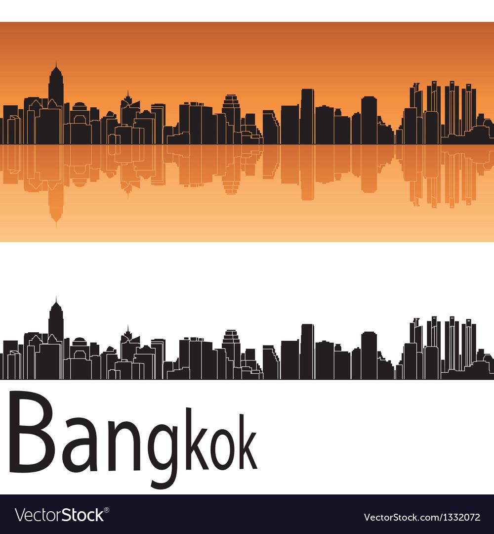 Bangkok skyline in orange background vector | Price: 1 Credit (USD $1)