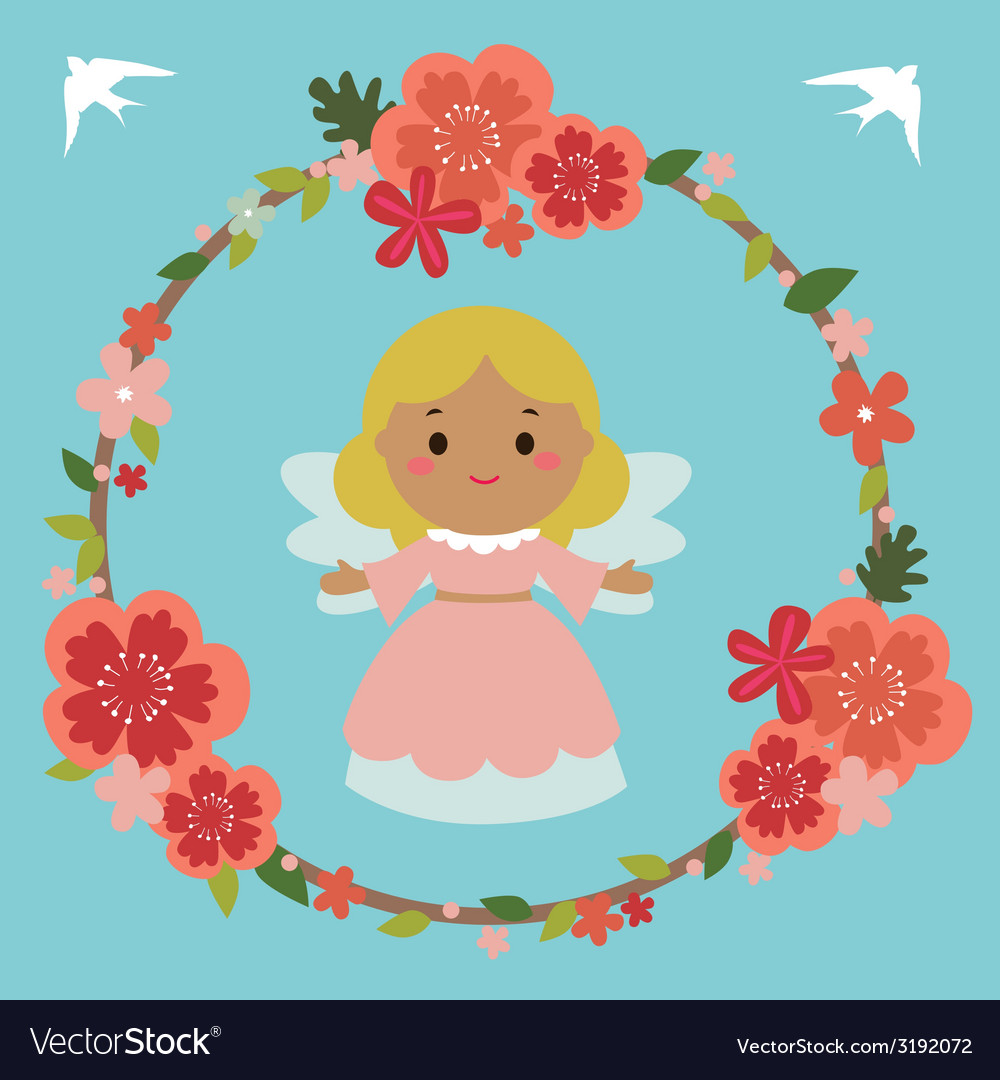 Floral design with angel and birds vector | Price: 1 Credit (USD $1)