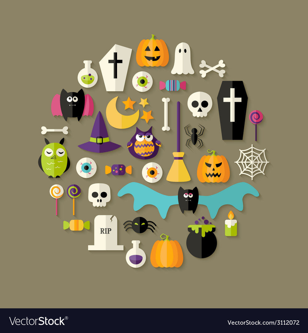 Halloween flat icons set over dark brown vector | Price: 1 Credit (USD $1)