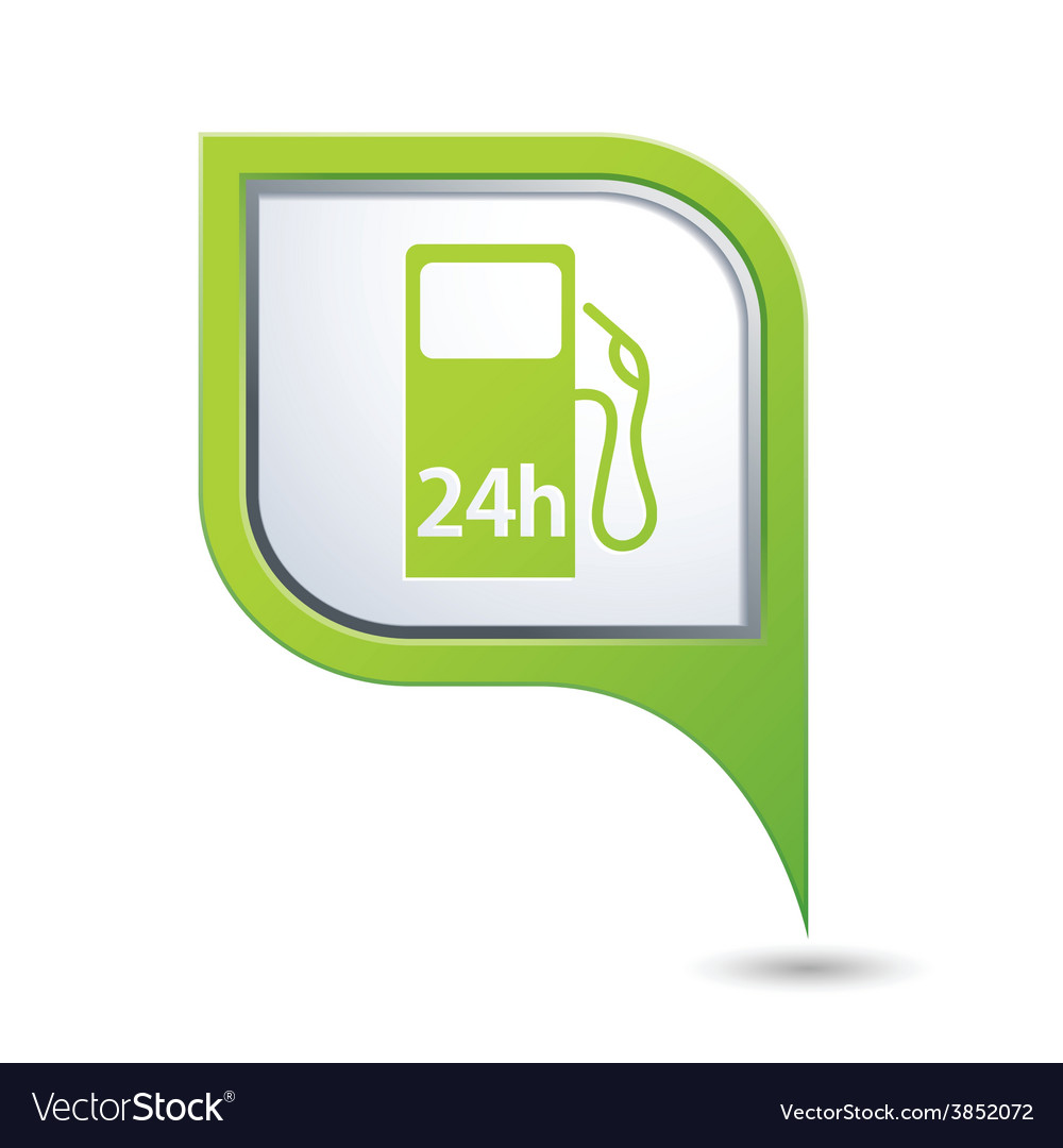 Petrol station 24h green pointer vector | Price: 1 Credit (USD $1)