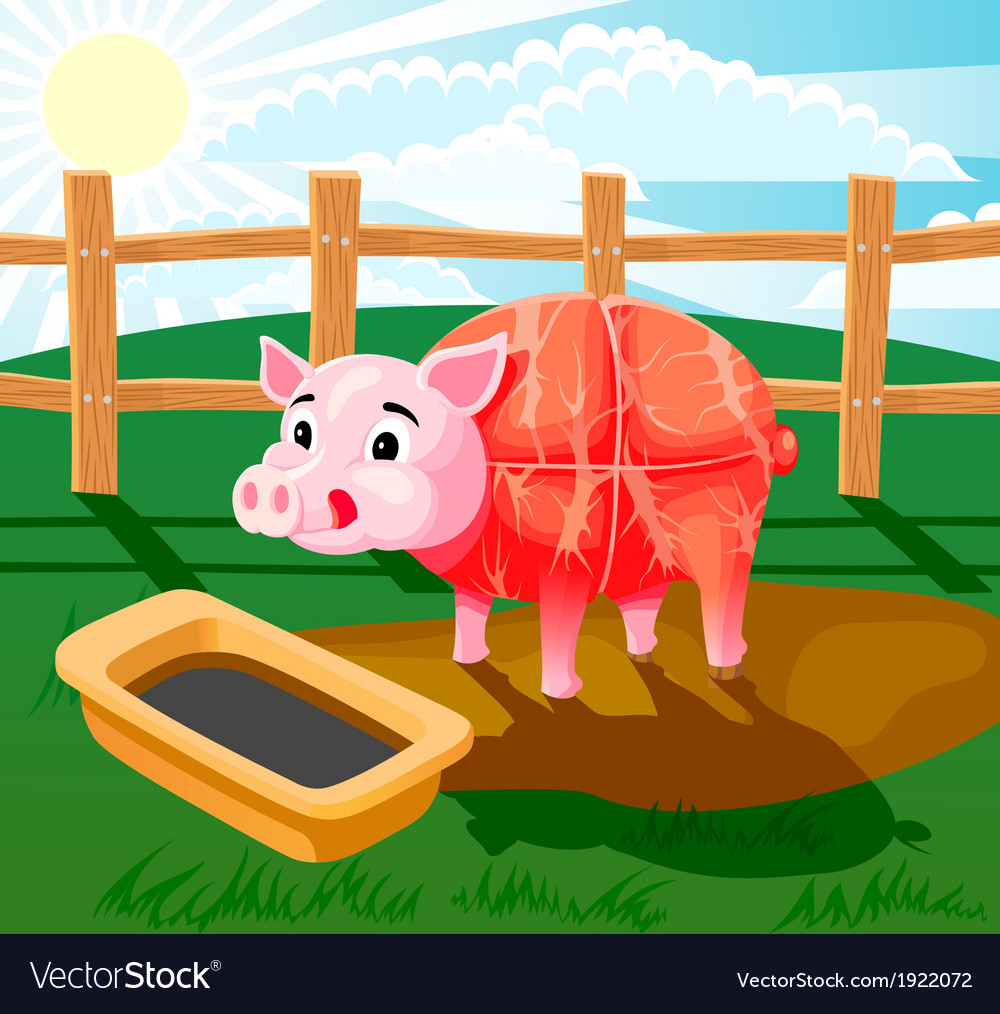 Pig sausage vector | Price: 3 Credit (USD $3)