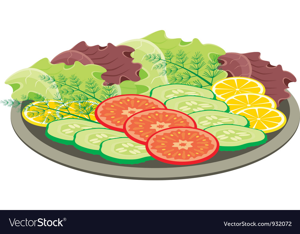 Plate with vegetables vector