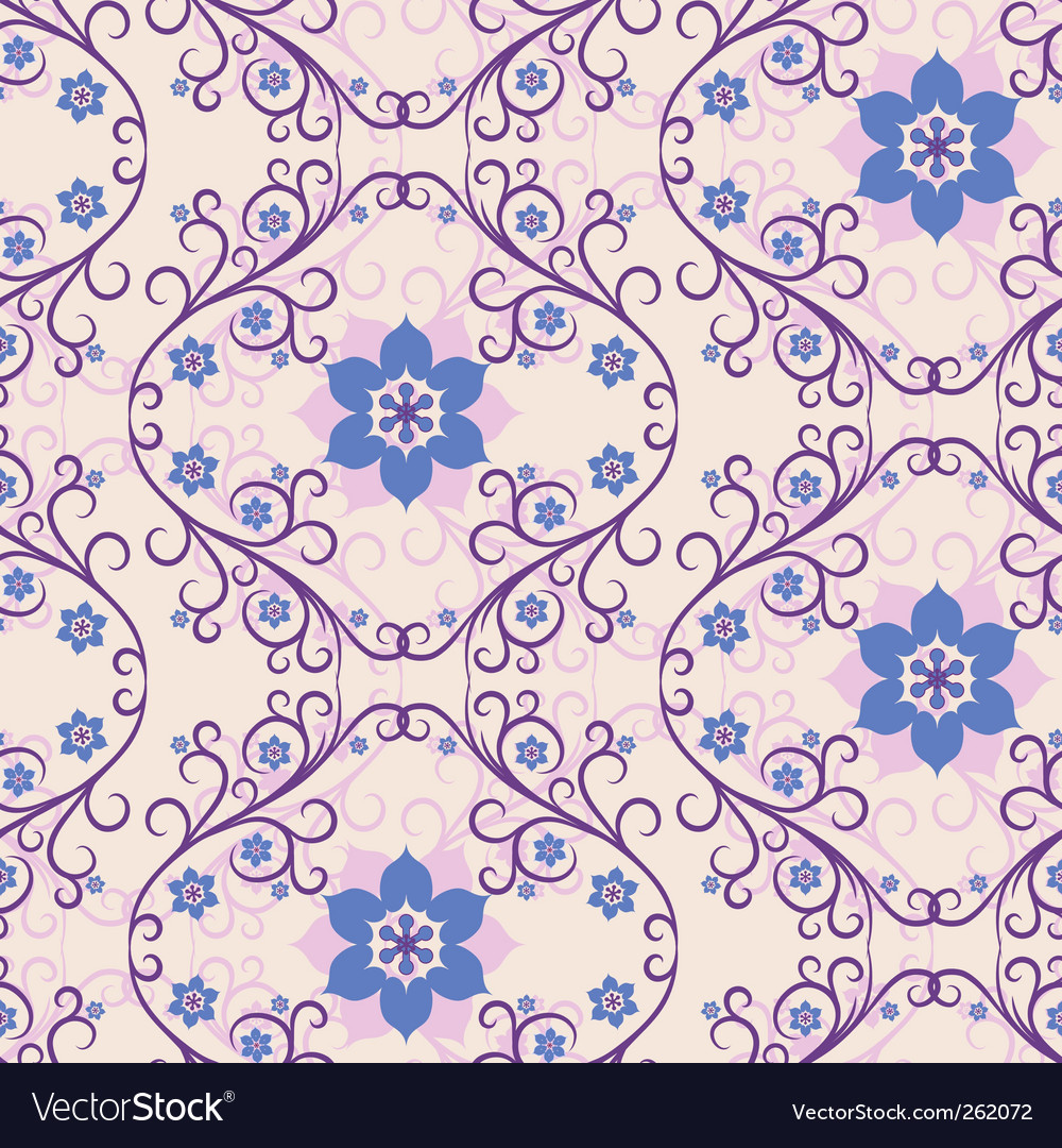 Seamless pink blue floral pattern vector | Price: 1 Credit (USD $1)