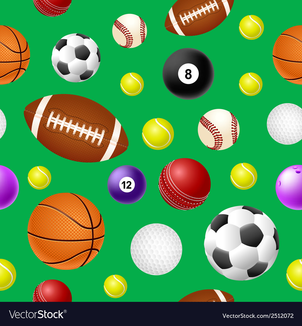 Sports ball seamless pattern on green background vector | Price: 1 Credit (USD $1)