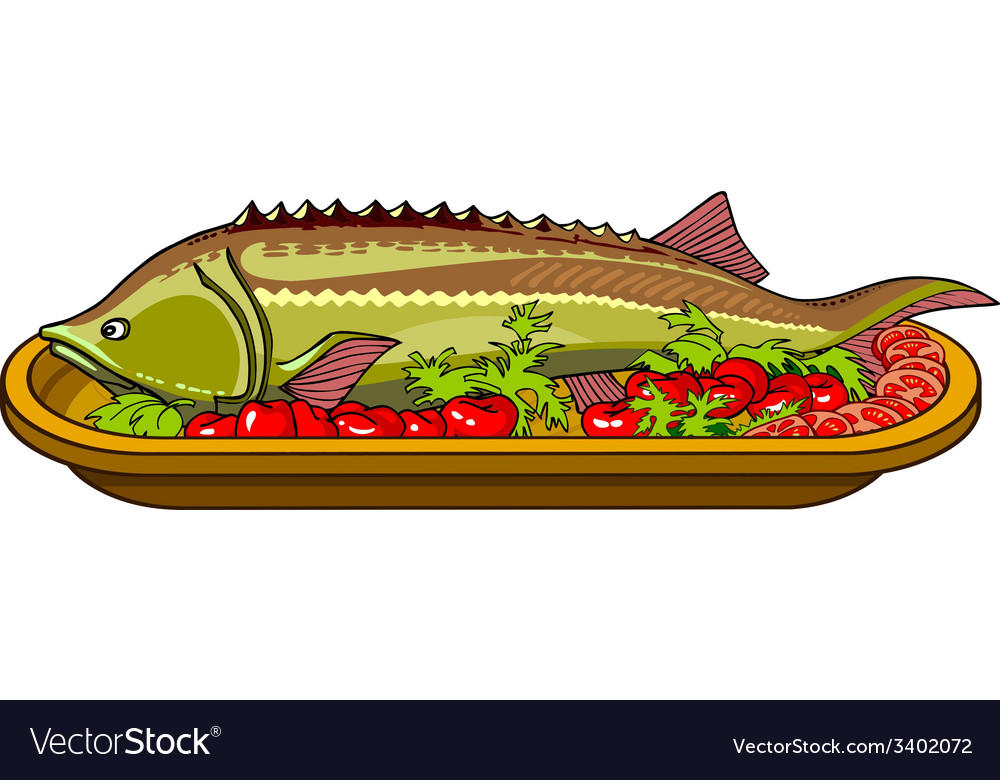 Sturgeon fish baked with vegetables on a platter vector | Price: 1 Credit (USD $1)