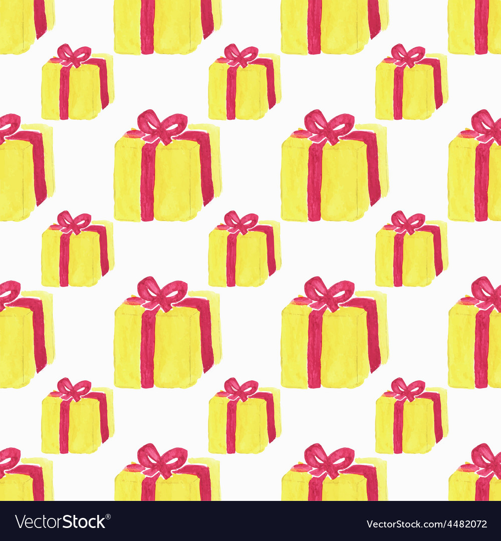 Watercolor seamless pattern with gift box on the vector | Price: 1 Credit (USD $1)