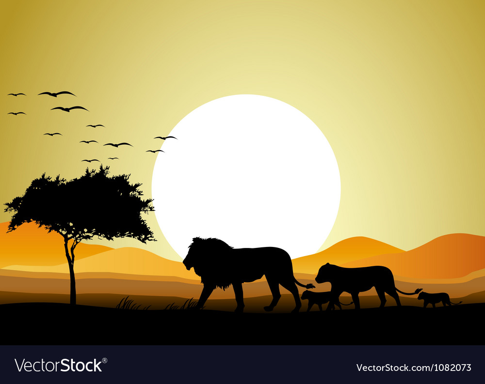 Beautiful lion family silhouettes with giant moon vector