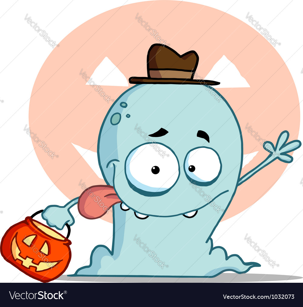 Blue halloween ghost waving vector | Price: 1 Credit (USD $1)
