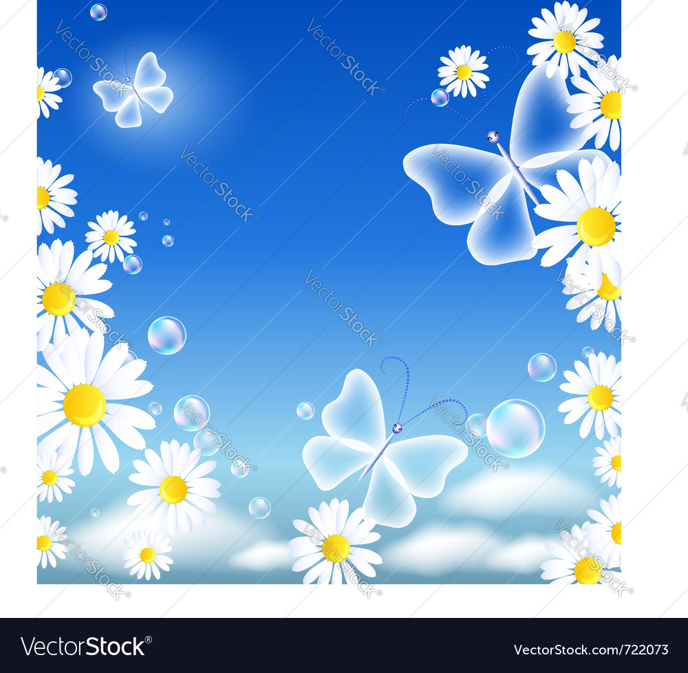 Butterflies and daisy vector | Price: 1 Credit (USD $1)