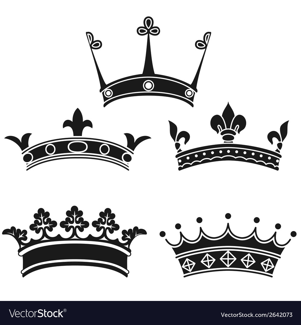 Collection of vintage crowns vector | Price: 1 Credit (USD $1)