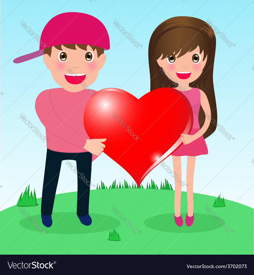 Couple in love whit big heart vector | Price: 1 Credit (USD $1)