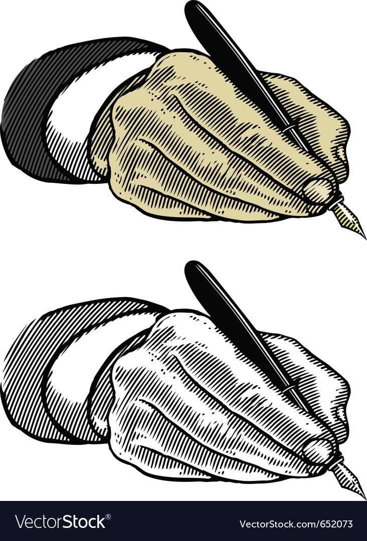Hand writing with fountain pen in engraved style vector | Price: 1 Credit (USD $1)