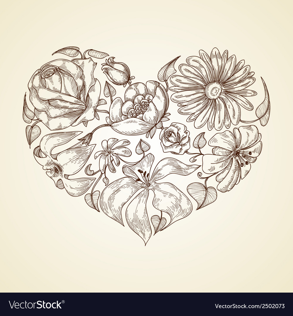 Heart of flowers graphic icon vector | Price: 1 Credit (USD $1)