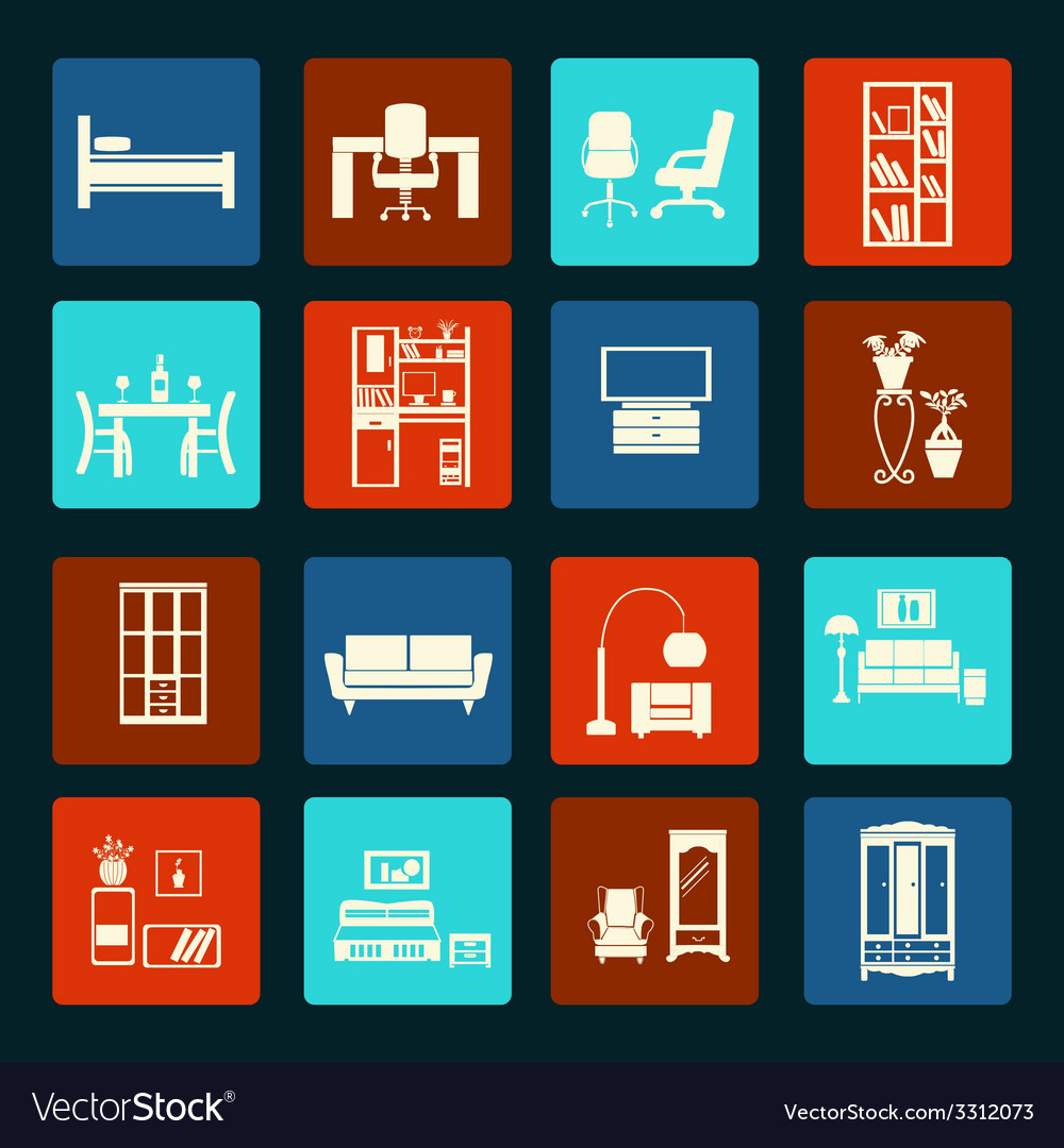 Interior icon set-flat furniture icons vector | Price: 1 Credit (USD $1)