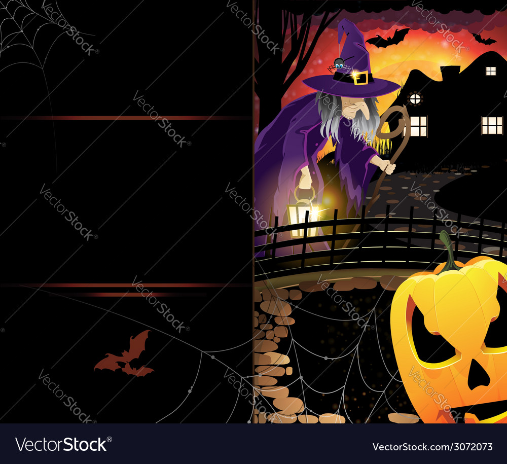 Jack olantern and old witch vector | Price: 3 Credit (USD $3)