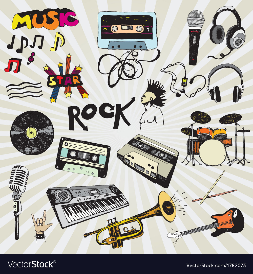 Music elements colorful vector | Price: 1 Credit (USD $1)