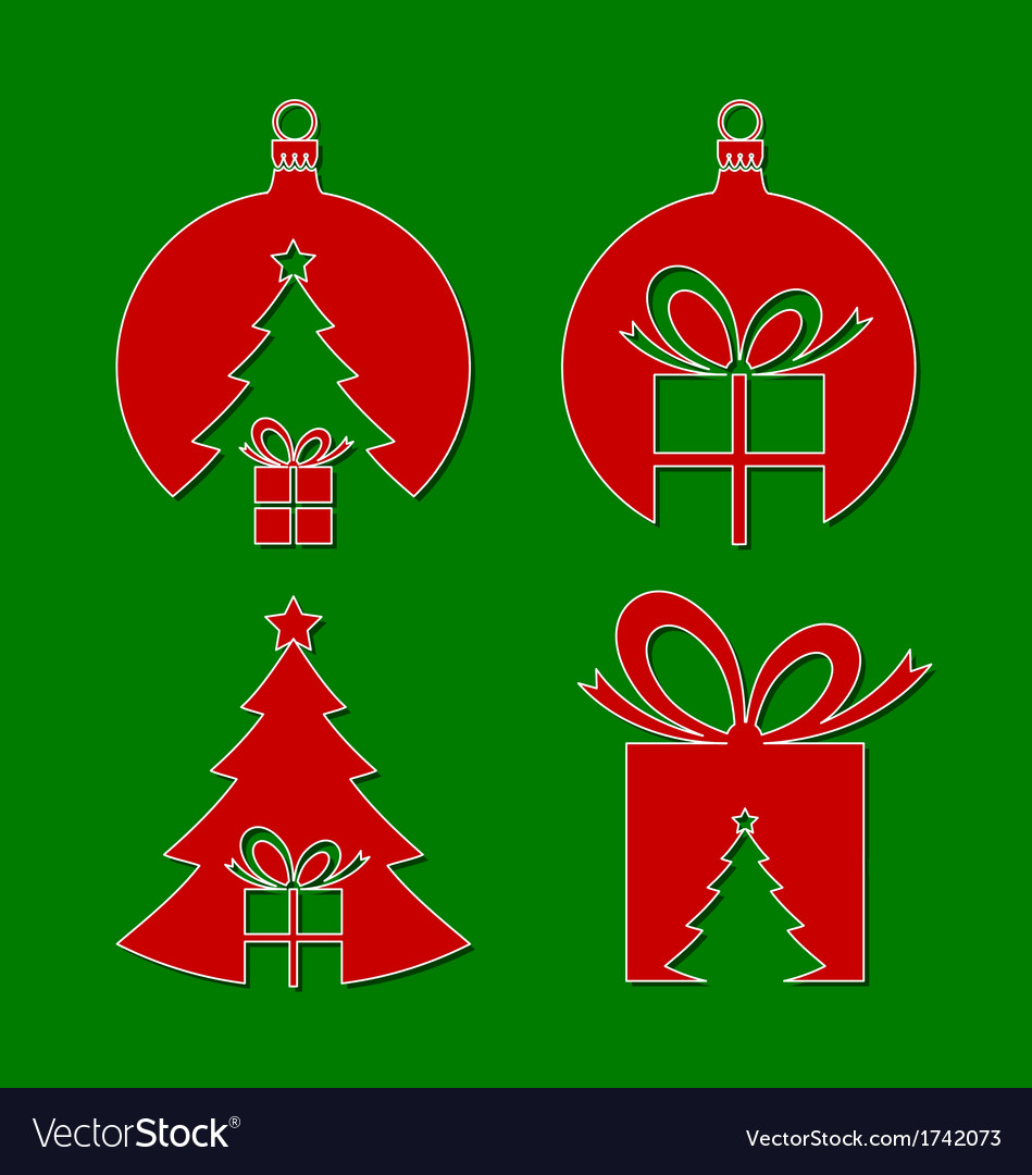 Negative space christmas icons vector | Price: 1 Credit (USD $1)