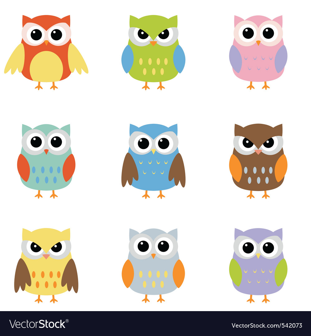 Owl cartoons vector