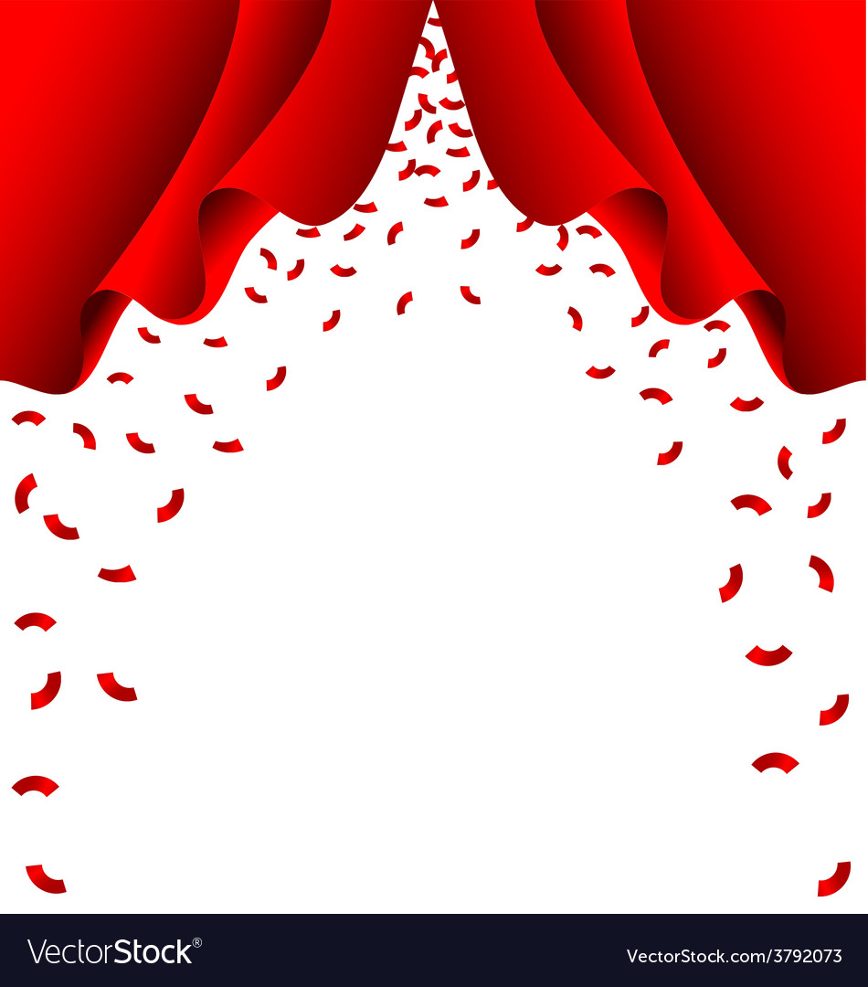 Red ribbon fall from red curtain on white vector | Price: 1 Credit (USD $1)