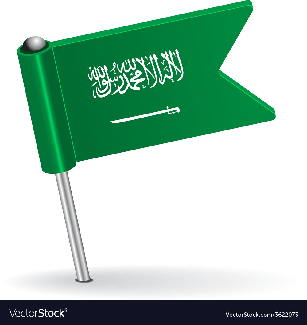 Saudi arabia pin icon flag vector | Price: 1 Credit (USD $1)