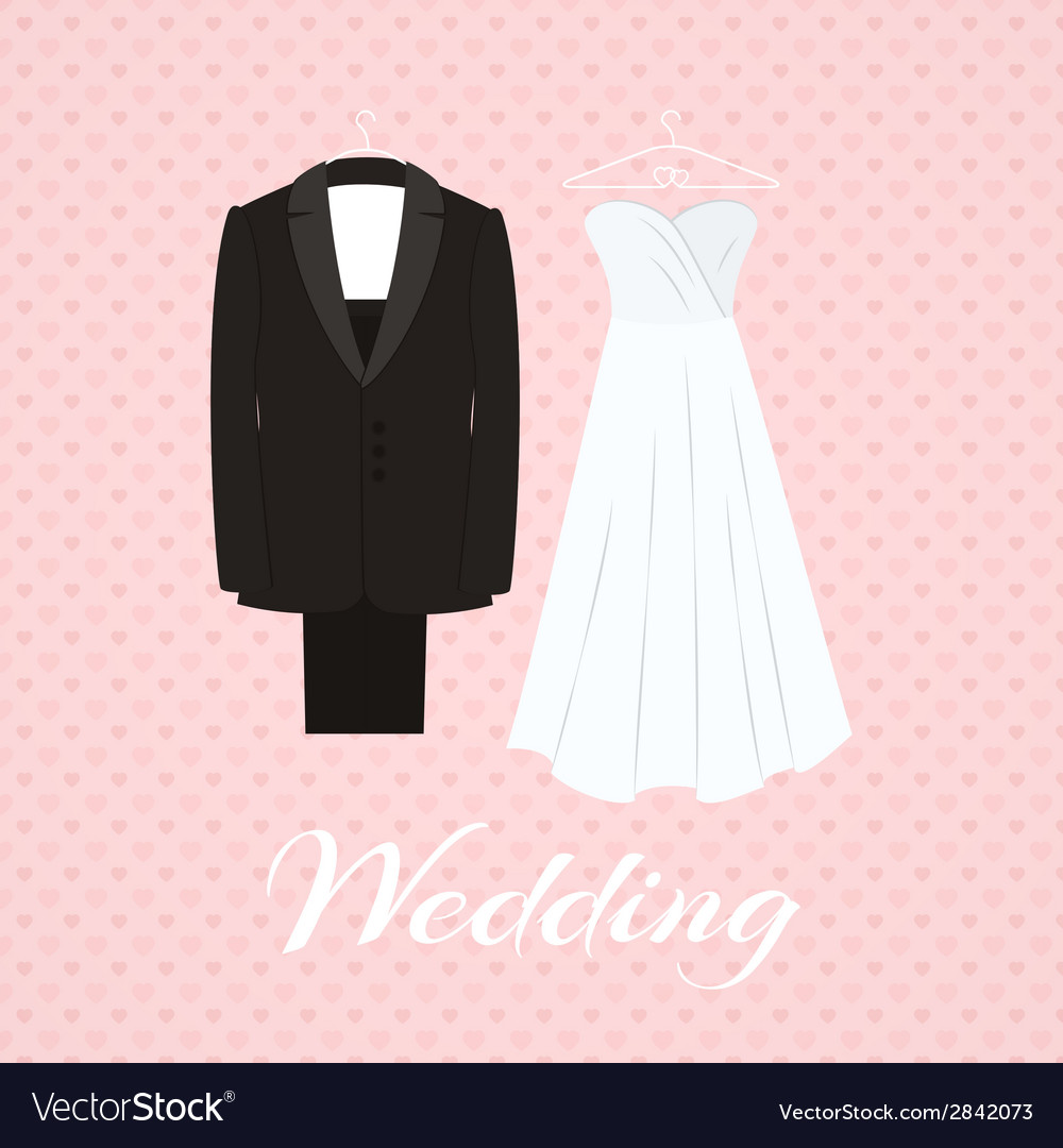 Suit beside wedding dress on pink background vector | Price: 1 Credit (USD $1)