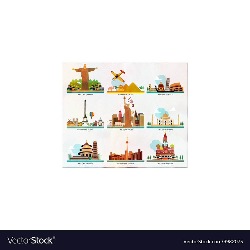 Travel and tourism locations vector | Price: 1 Credit (USD $1)