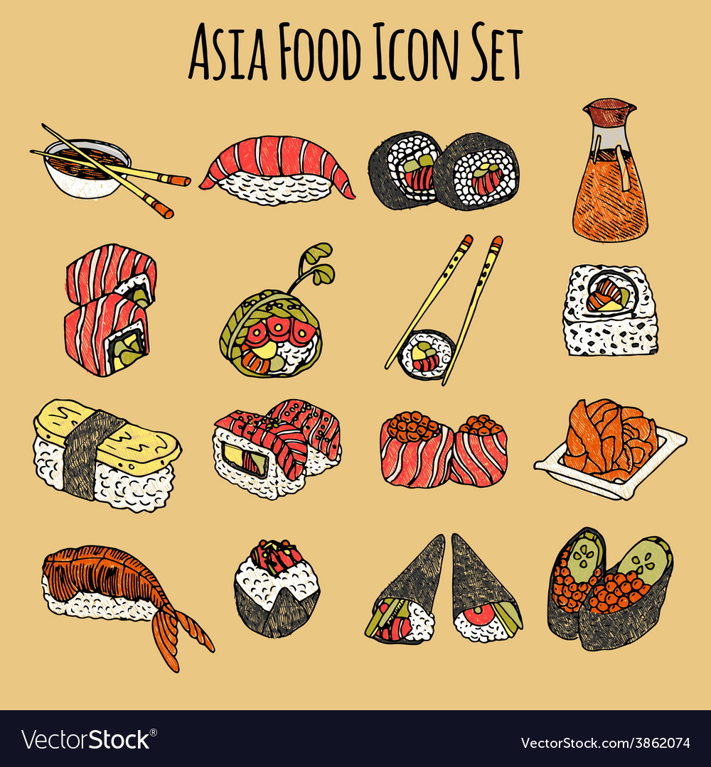 Asia food icon set colored vector | Price: 1 Credit (USD $1)