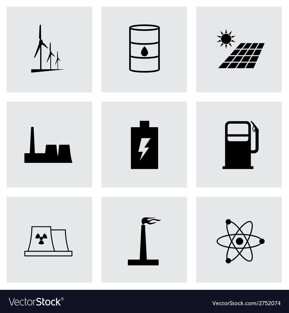 Black energetics icons set vector | Price: 1 Credit (USD $1)