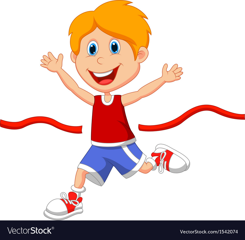 Cartoon boy ran to the finish line first vector | Price: 1 Credit (USD $1)